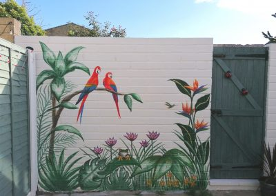 Tropical mural garden wall