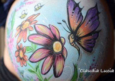 Flowers & Butterfly baby bump art