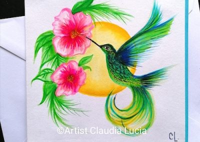 Watercolour Hummingbird Bright - birthday card