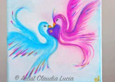 Love Birds Pink & Blue - watercolours