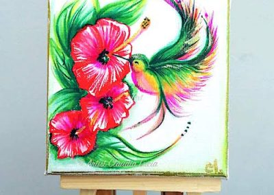 Fancy Hummingbird - acrylic mini canvas
