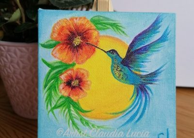 Hummingbird orange flower 10x10cm canvas with easel