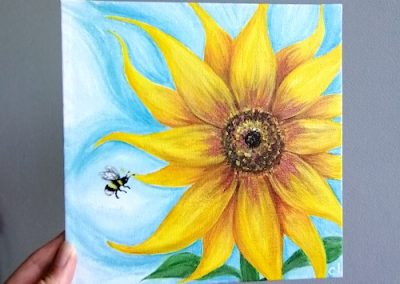 Sunflower Acrylic Canvas 20cm x 20cm - £45