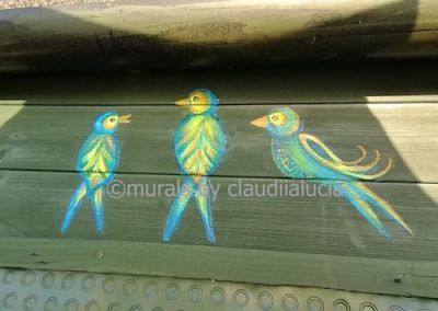 allotment birds on shed mural