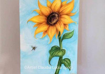 Large acrylic sunflower 50x70cm