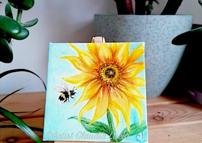 Sunflower & Bee Happy mini acrylic canvas