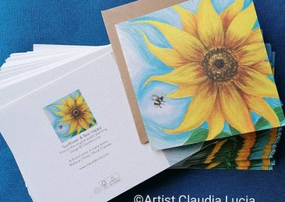 Sunflower & Bee Happy cards - printed on recycled matt textured paper £3