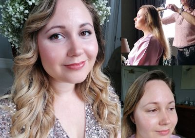 Natural makeup with waves hair